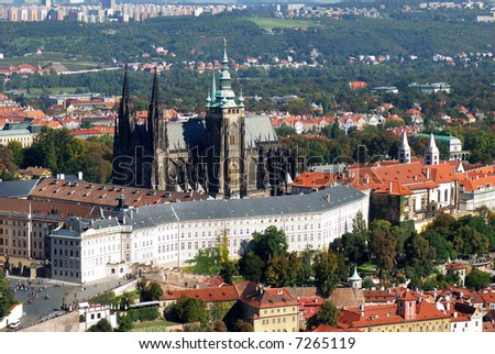 The rooftops of Prague Czech Republic, view of Petrin