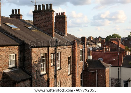 The rooftops of the city of York, England, UK