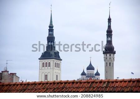 The rooftops over Tallinn - stock photo
