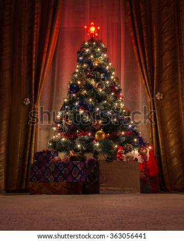 The room is a beautiful Christmas tree