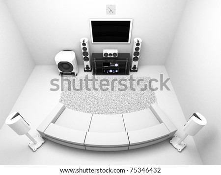 The Room with hi-end audio system TV - stock photo