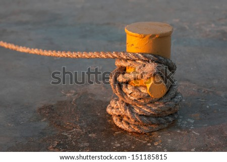 The rope on the jetty,as the background - stock photo