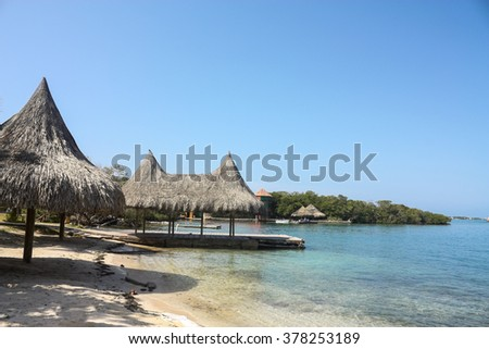 The Rosario Islands are an archipelago comprising 27 islands located about two hours by boat from Cartagena de Indias, Colombia. The ideal place to enjoy a peaceful vacation. - stock photo