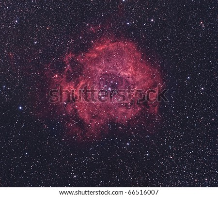 The Rosette Nebula, NGC2237, Bright Nebula in Monoceros - stock photo