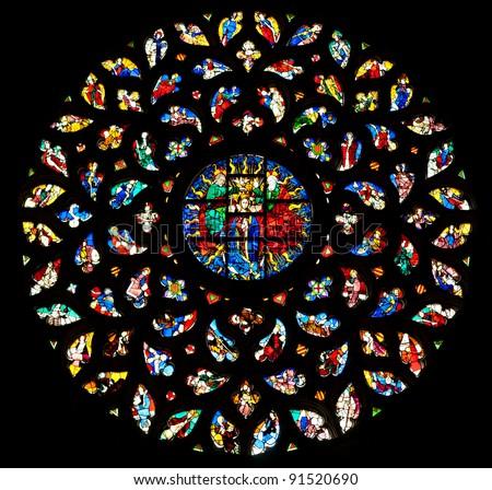 The rosette window of Santa Maria del Mar, Barcelona. - stock photo