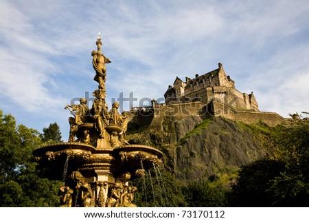 The Ross Fountain and Castle in Edinburgh, Scotland - stock photo