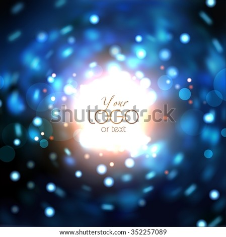 The rotation of lens flare and bright lights around the globe. In the dark the bright glare of the lights, they revolve around a bright globe in the center. - stock photo