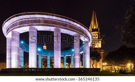 The Rotunda at night in Guadalajara, Mexico - stock photo