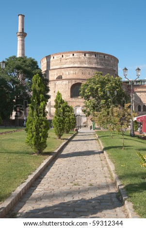 the Rotunda in town Of Thessaloniki, Greece, was built by Galerius as his mausoleum,  Constantine the Great made it  the  first church; the Ottomans would transform it into a mosque with a minaret - stock photo