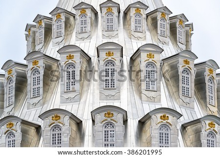 The rotunda of Resurrection Cathedral in New Jerusalem Monastery in Istra, Russia - stock photo