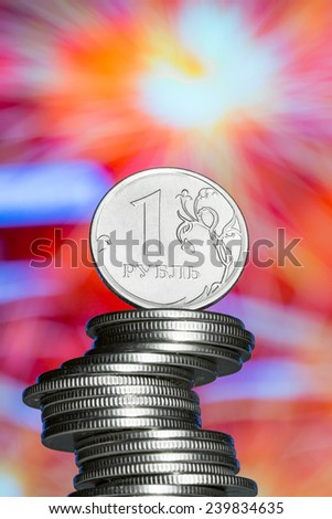 The rouble - russian main coin. Russian national currency. Bright background - stock photo