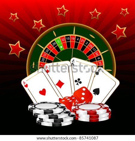 The roulette, four ases and dice against a dark background. EPS version is available as ID 84310747. - stock photo