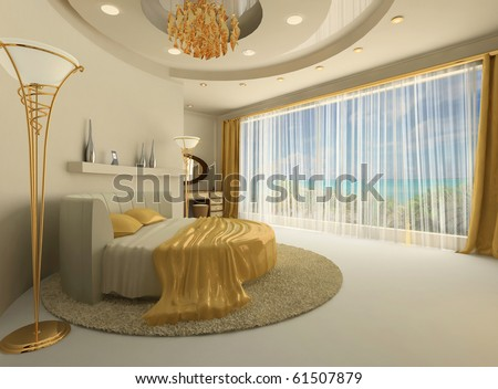 The round bed in a luxurious interior with a large window - stock photo