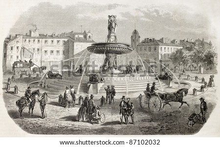 The round fountain old view, Aix-en-Provence, France. Created by Gaildrau after Gibert, published on L'Illustration, Journal Universel, Paris, 1860 - stock photo
