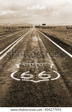 The Route 66 logo on the roadway in Arizona. - stock photo