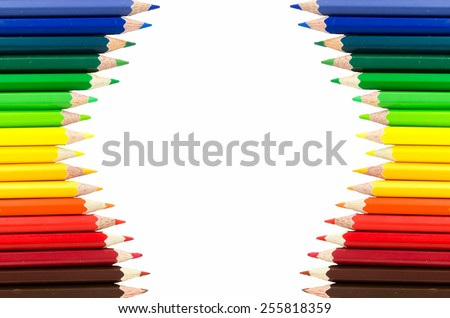 The row of Multicolored Crayon,Frame with Crayon - stock photo