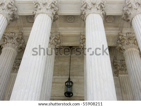 The rows of classical columns with portico - stock photo