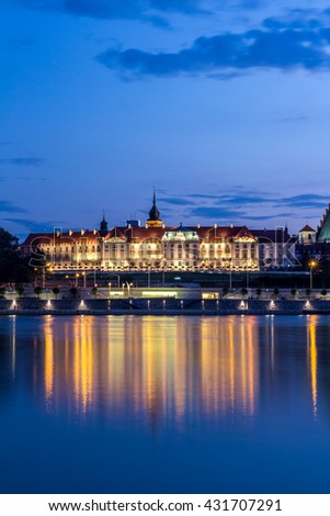 The Royal Castle over the Vistula river in Warsaw, Poland