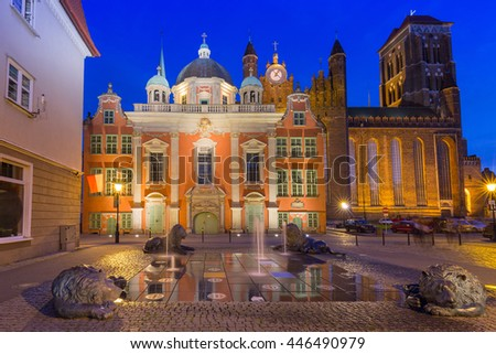 The Royal Chapel of St. Mary's Basilica in Gdansk at night, Poland - stock photo
