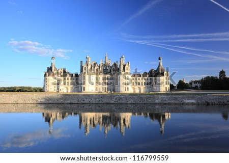 The royal chateau de Chambord is the largest castle in Loire Valley, and is known for its French Renaissance architecture - stock photo