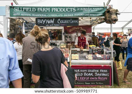 The Royal Cheshire County Show,  Knutsford , England, UK. - June 22, 2016  Sillfield farm products market stall with wild boars head at the Royal Cheshire County show, Cheshire, England.