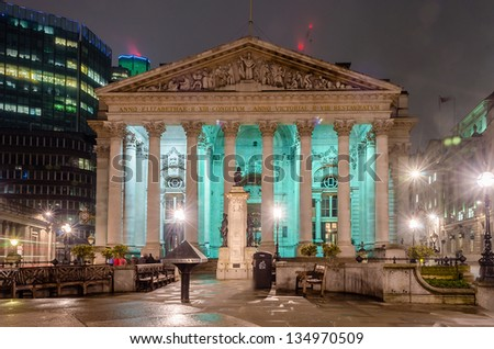 The Royal Exchange Building, London, UK - stock photo