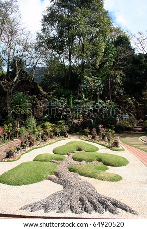 The royal garden park is located in Chiang Mai province, northern of Thailand. - stock photo