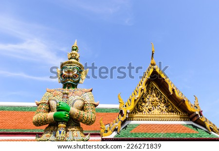 THE ROYAL GRAND PALACE OR WAT PHRA KAEW, A FAMOUS PLACE IN BANGKOK,THAILAND - stock photo