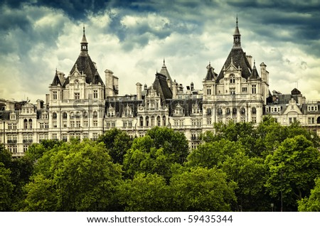 The Royal Horseguards  originally built in 1884 in style of a French château as the home of the National Liberal Club. - stock photo