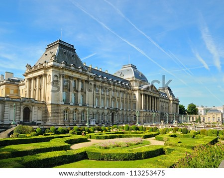 The Royal Palace in center of Brussels, view from Place des Palais, Belgium - stock photo