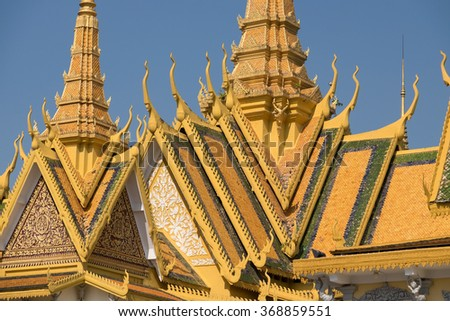 The Royal palace in Phnom Penh, Cambodia. - stock photo