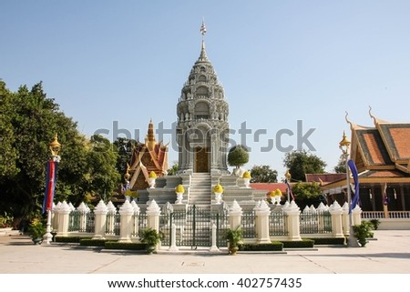 The royal palace in Phnom Penh, Cambodia.