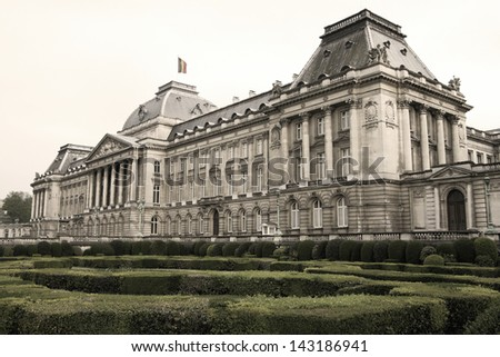 The royal palace in the center of Brussels, Belgium (sepia image)