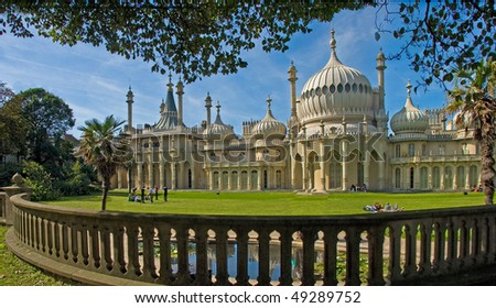 The Royal Pavilion, built for King George IV in the early 19C at Brighton, Sussex, England.