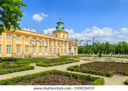 The royal Wilanow Palace in Warsaw, Poland. View of a gardens and facade.