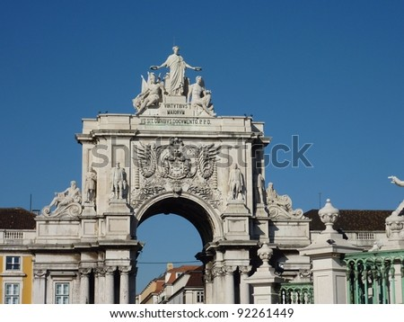 The rue Augusta Arch seen from the praca do Comercio in Lisbon in Portugal - stock photo