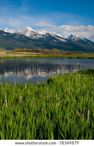The rugged Mission Mountains reflected in a small pond south of Ronan, Lake County, Montana, USA