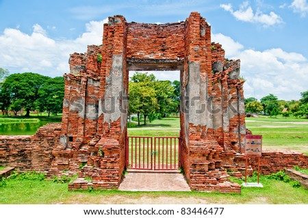 The Ruin of Buddha status and temple of wat mahathat  in ayutthaya historical park, Thailand