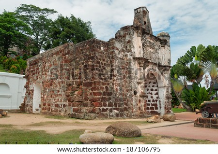 The ruined gates of  Portuguese fort A Famosa, Porta de Santiago. Malacca. Malaysia