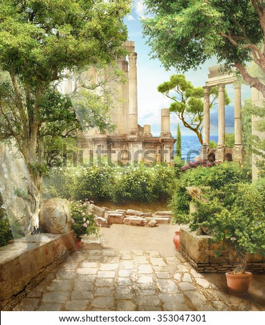 The ruins among the trees - stock photo