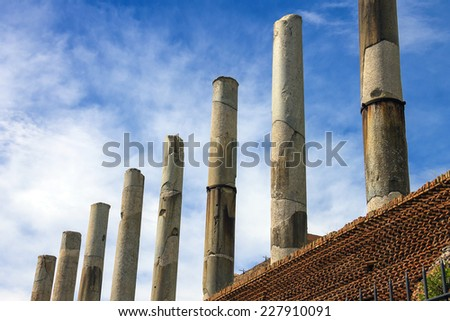 The ruins colonnade of the temple  Venus in Rome, Italy - stock photo