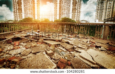 The ruins in the context of modern architecture - stock photo