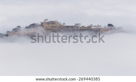 The ruins of a castle floating on a sea of clouds, Takeda Castle, Japanese Machupicchu, Japan