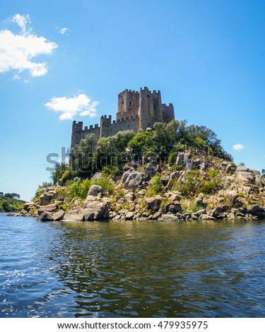The ruins of a medieval castle Almourol  on the island in the middle of River Tagus (Tajo, Tejo), Portugal