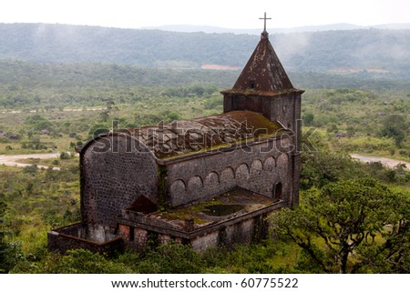 The ruins of a 19th century French Catholic church at Bokor National Park, Kampot, Cambodia - stock photo