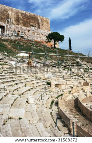 The ruins of amphitheater in Acropolis (Athens, Greece).