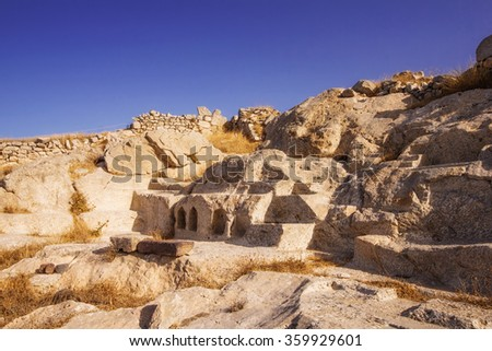 The ruins of Ancient Thera, Santorini, Greece - stock photo