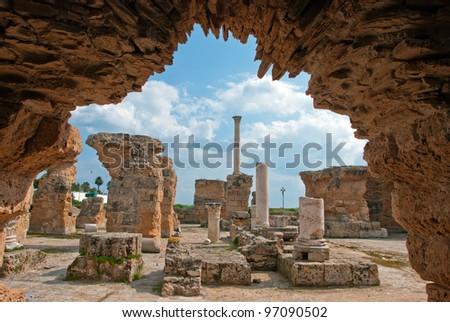 the ruins of Carthage, Tunisia - stock photo