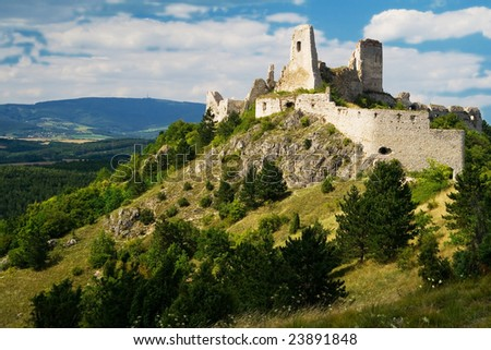 the ruins of castle Cachtice - Slovakia - stock photo