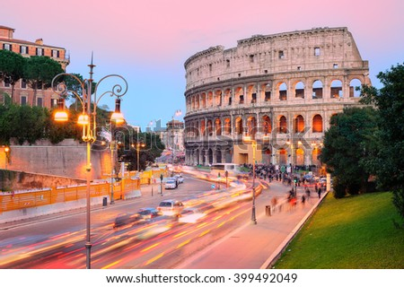 The ruins of Colosseum in the city center of Rome, Italy, on sunset